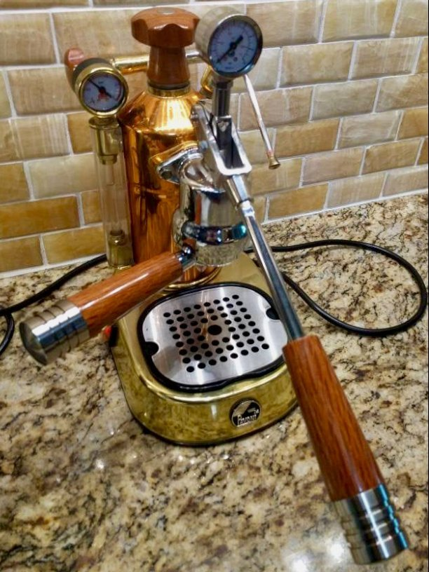 Handmade La Pavoni Custom Hardwood Coffee Parts